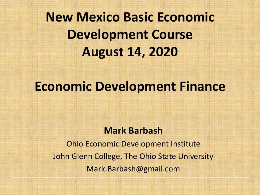New Mexico Basic Economic Development Course Au...