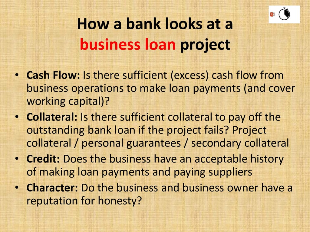 How a bank looks at a business loan project • C...