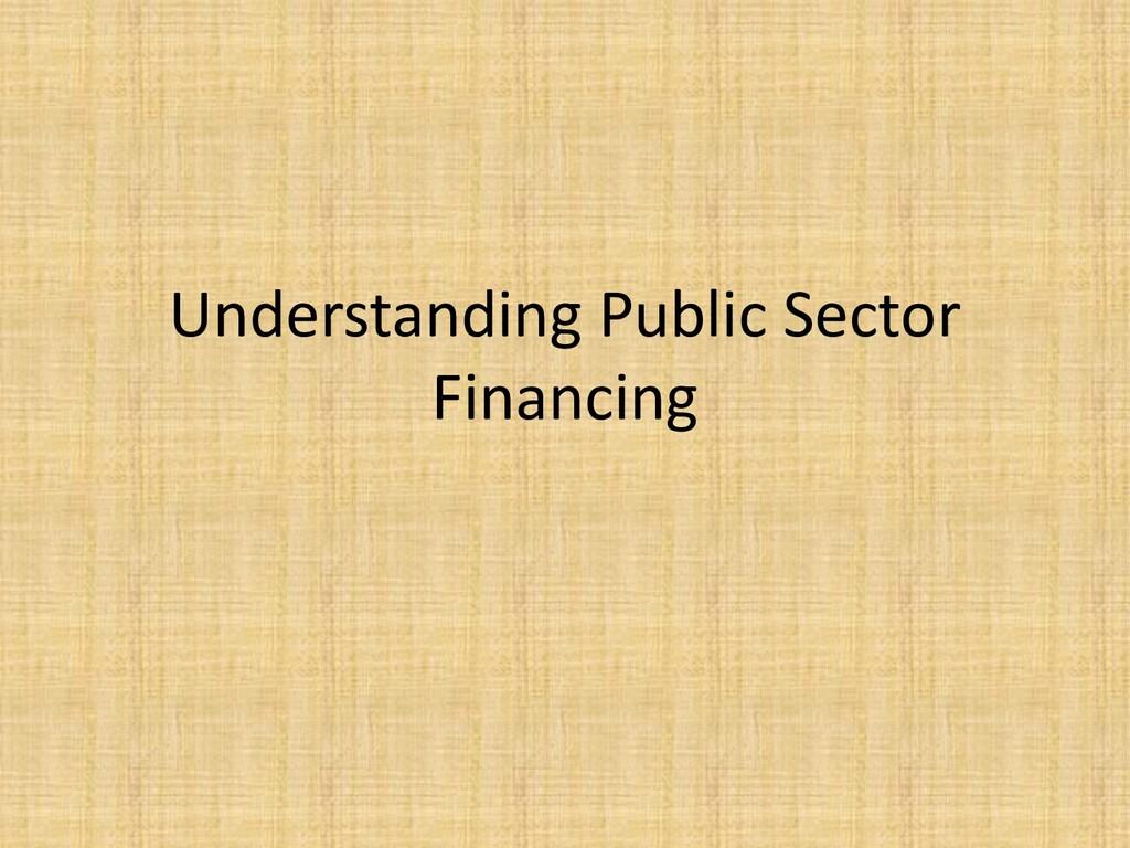 Understanding Public Sector Financing