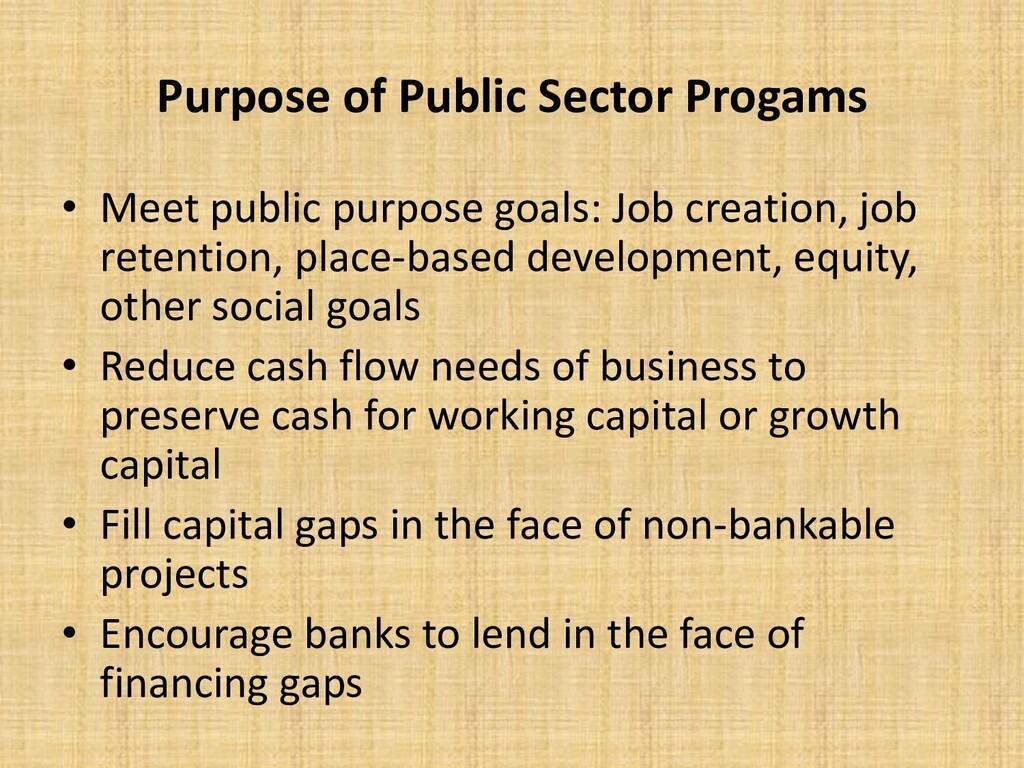 Purpose of Public Sector Progams • Meet public ...