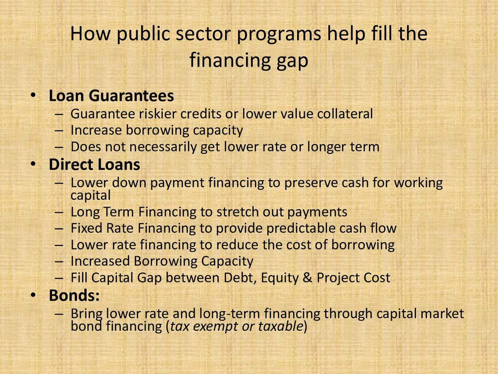 How public sector programs help fill the financ...