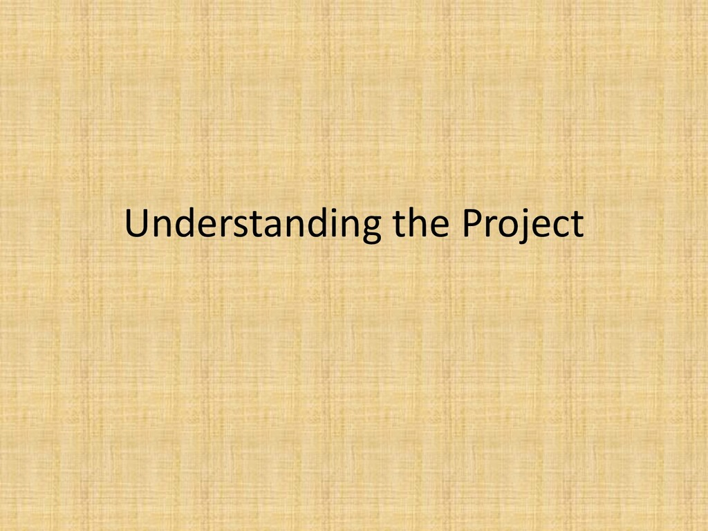 Understanding the Project