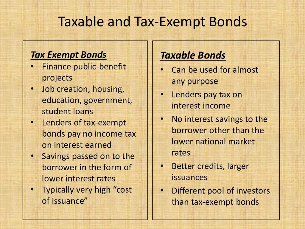 Taxable and Tax-Exempt Bonds Taxable Bonds • Ca...