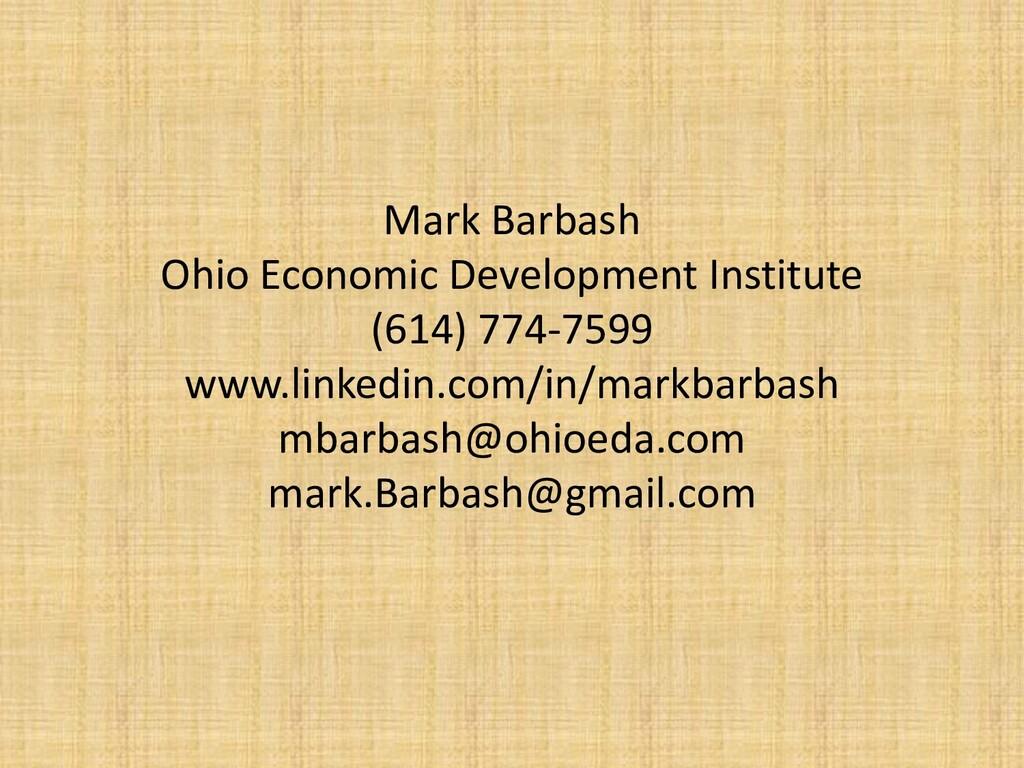 Mark Barbash Ohio Economic Development Institut...