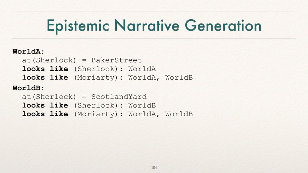 Epistemic Narrative Generation WorldA: at(Sher...
