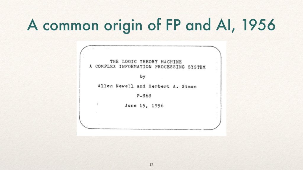 A common origin of FP and AI, 1956 12
