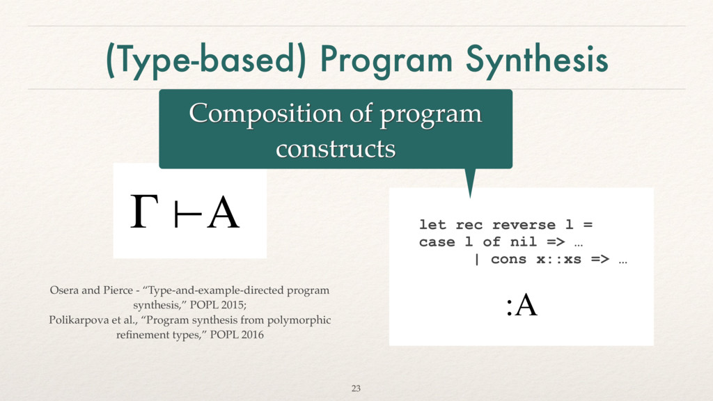 (Type-based) Program Synthesis Γ ⊢A :A let rec ...
