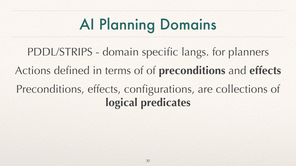 AI Planning Domains PDDL/STRIPS - domain specifi...