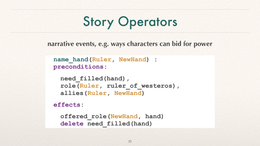 Story Operators narrative events, e.g. ways cha...
