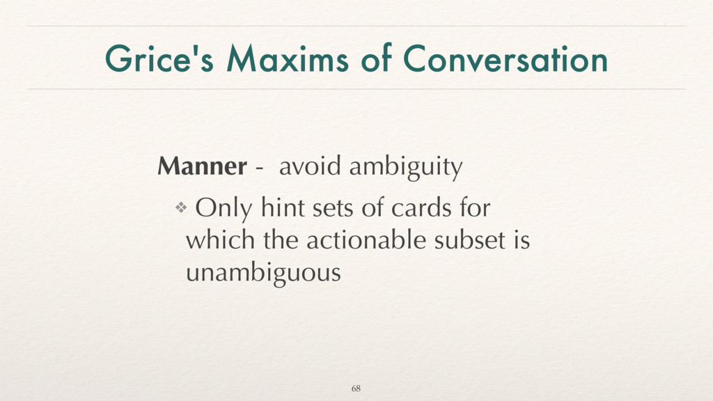 Grice's Maxims of Conversation Manner - avoid a...