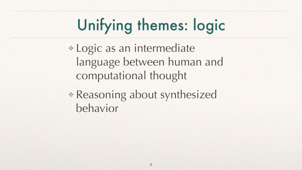 Unifying themes: logic ❖ Logic as an intermedia...