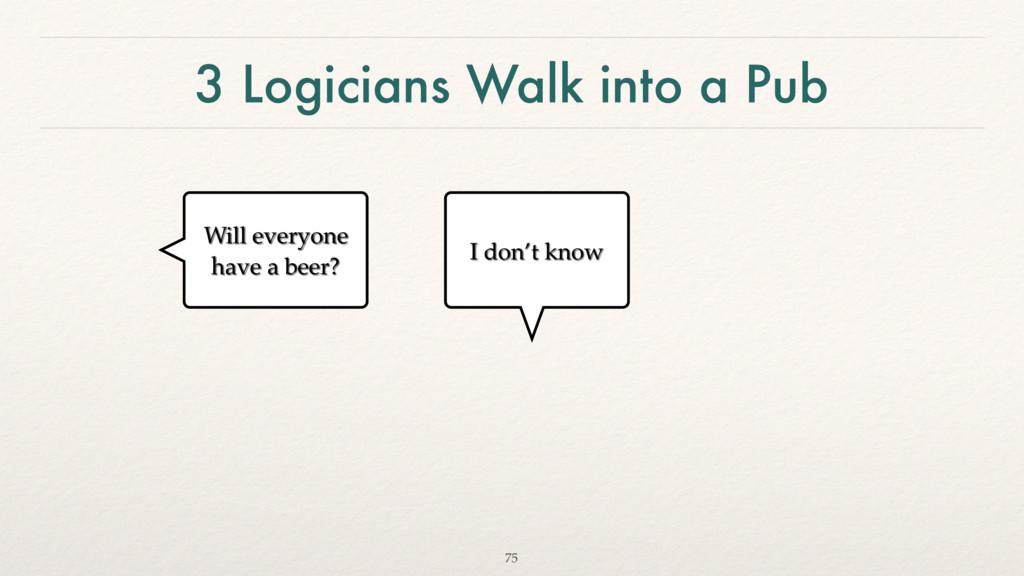 3 Logicians Walk into a Pub 75 Will everyone ha...
