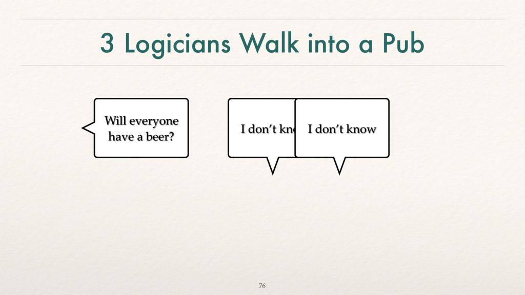 3 Logicians Walk into a Pub 76 Will everyone ha...