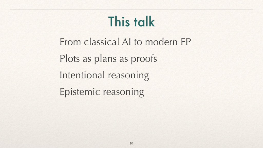 This talk From classical AI to modern FP Plots ...
