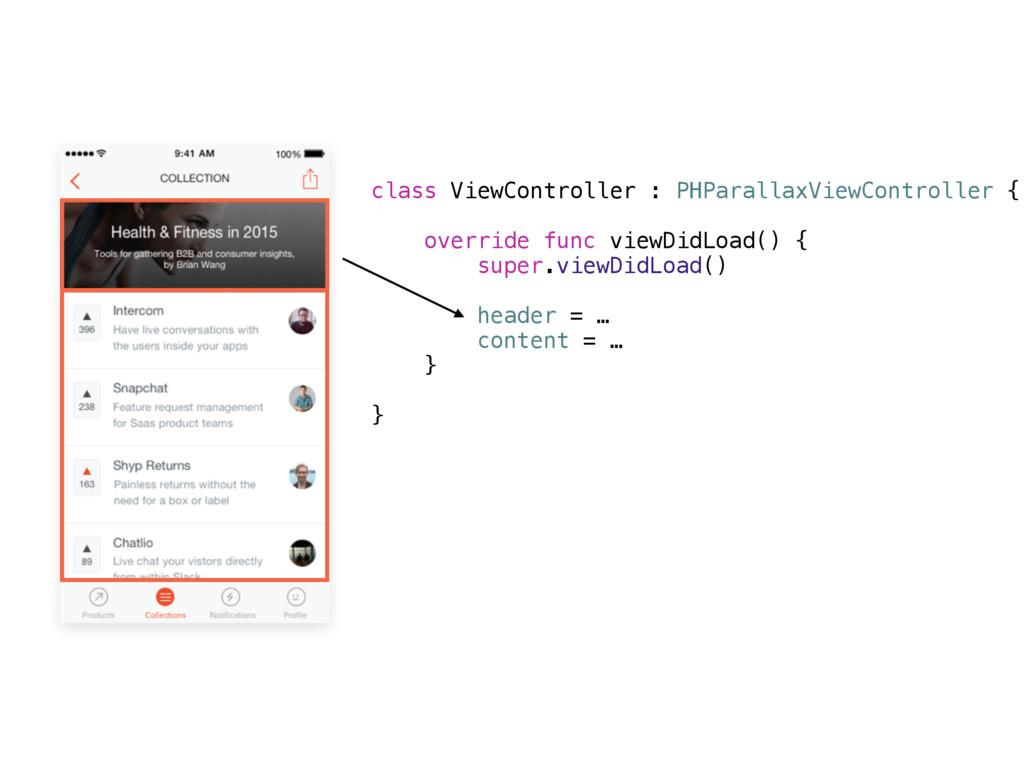 class ViewController : PHParallaxViewController...