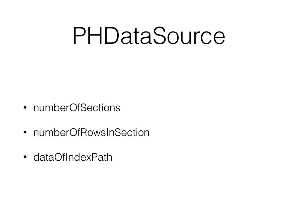 PHDataSource • numberOfSections • numberOfRowsI...