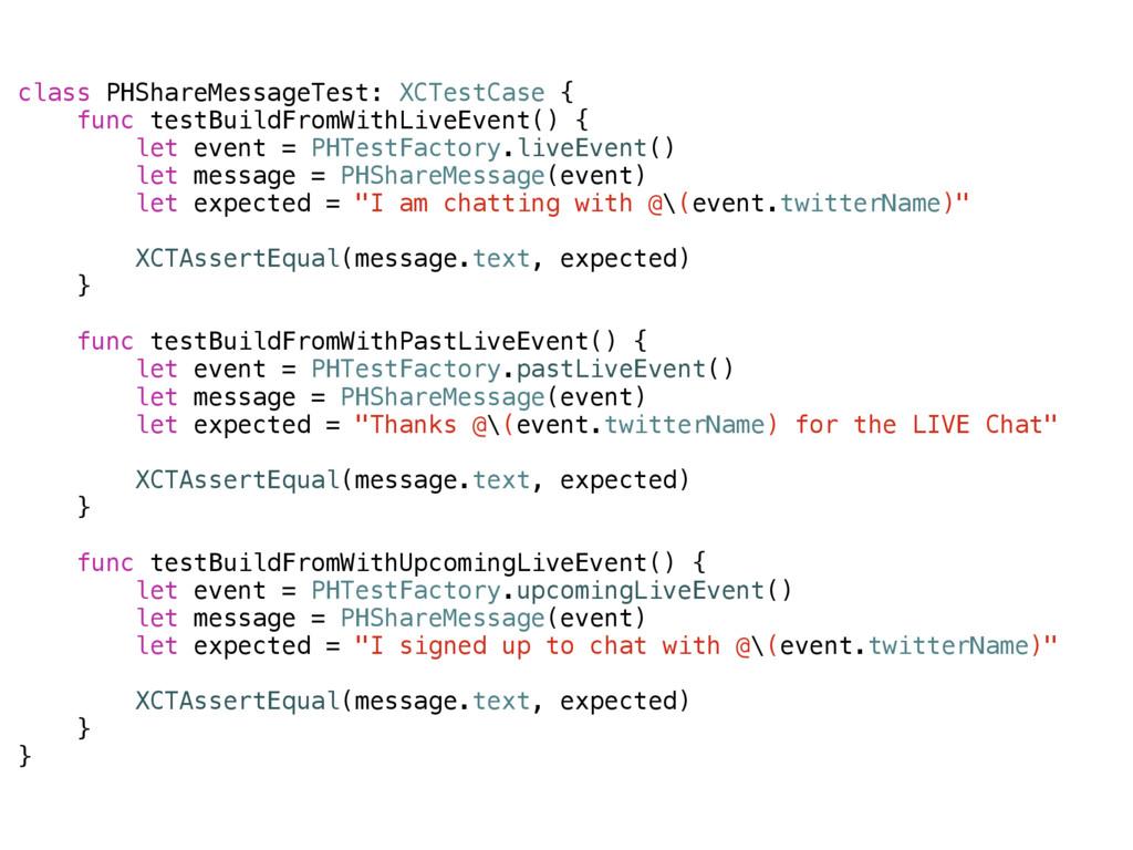 class PHShareMessageTest: XCTestCase { func tes...