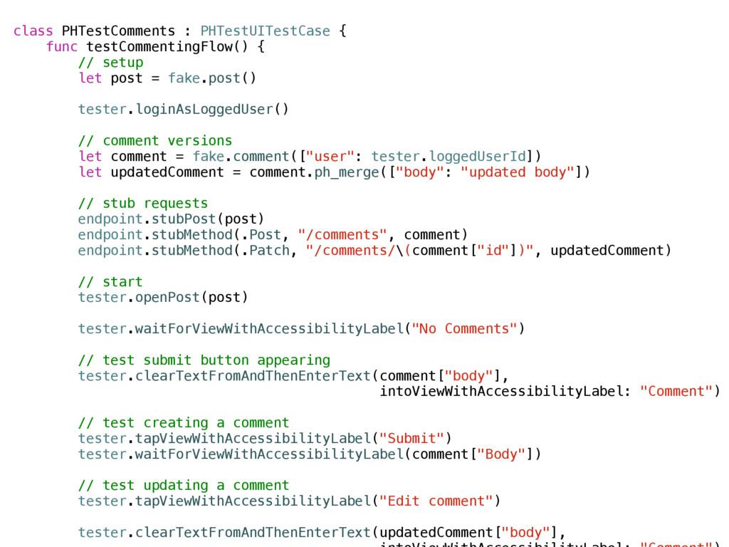 class PHTestComments : PHTestUITestCase { func ...