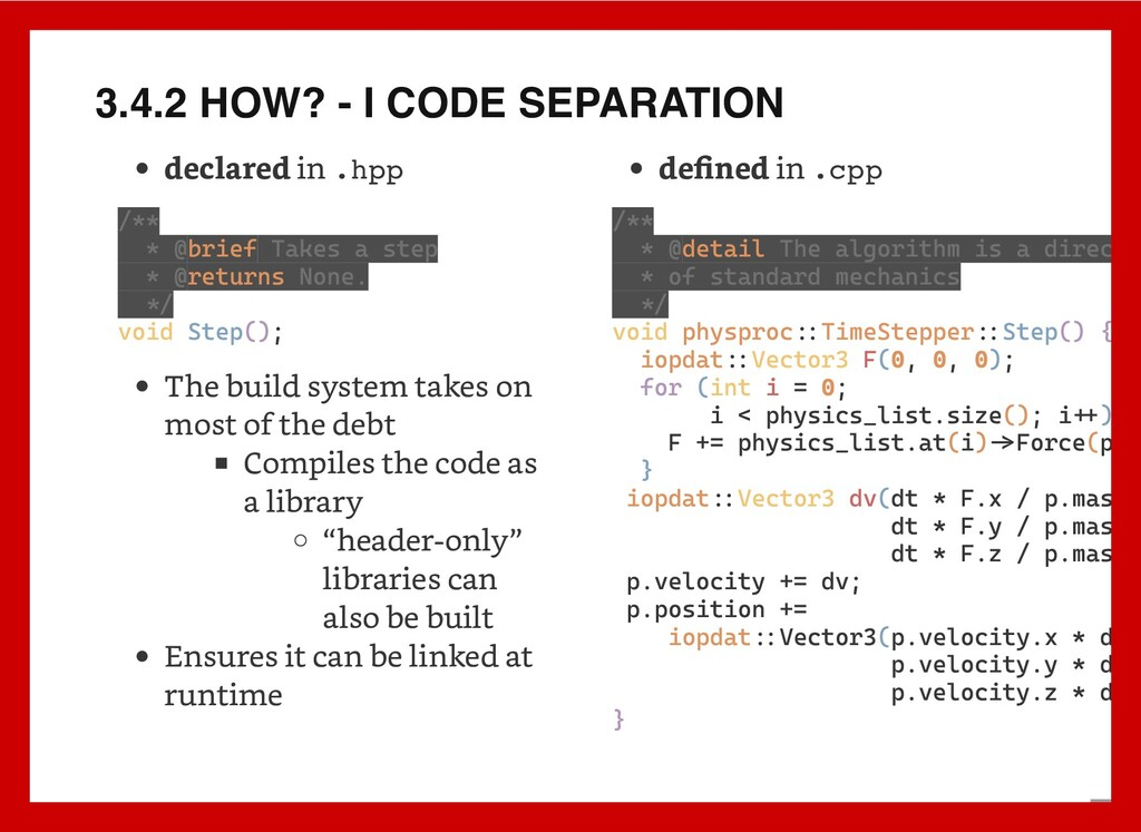 3.4.2 HOW? - I CODE SEPARATION declared in .hpp...