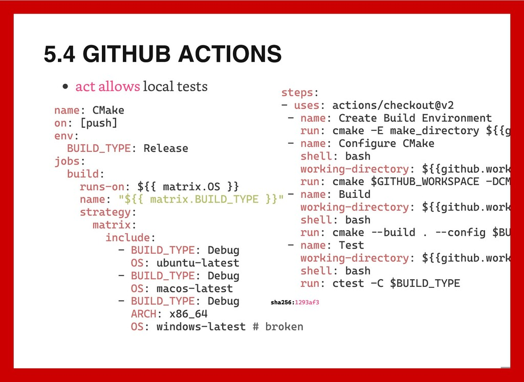 5.4 GITHUB ACTIONS local tests act allows name:...