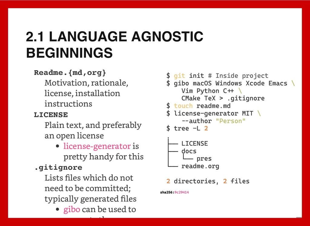 2.1 LANGUAGE AGNOSTIC BEGINNINGS Readme.{md,org...