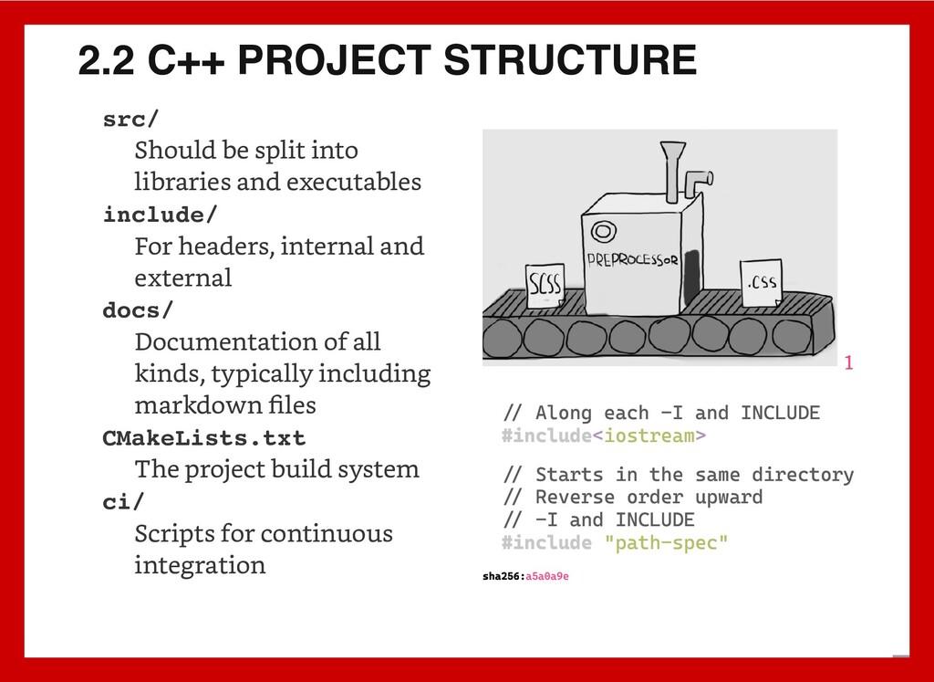 2.2 C++ PROJECT STRUCTURE src/ Should be split ...