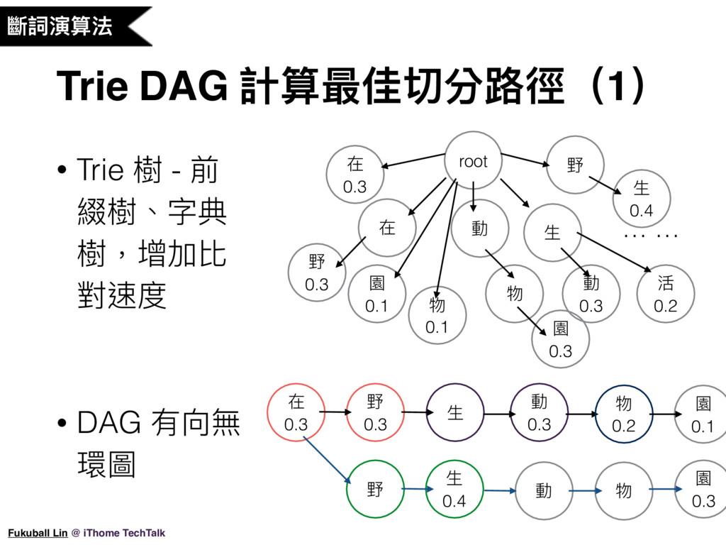 Trie DAG 計算最佳切分路路徑(1) Fukuball Lin @ iThome Tec...