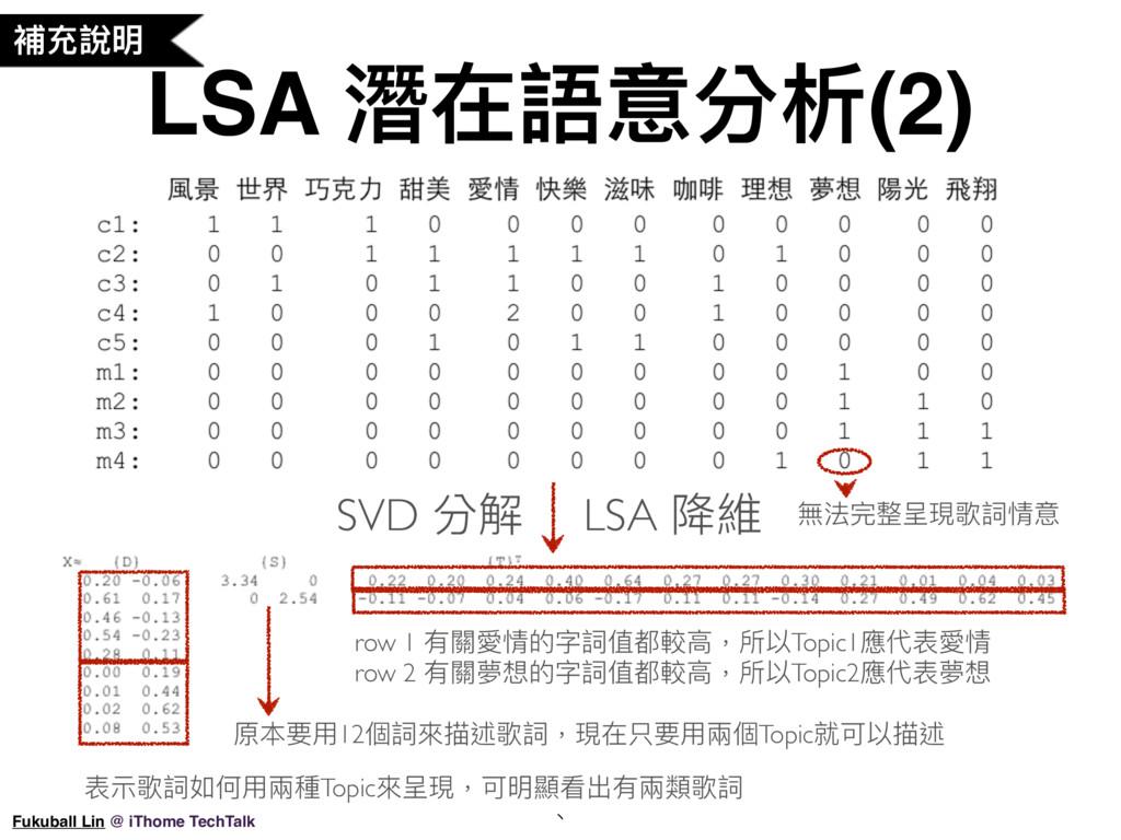 LSA 潛在語意分析(2) 、 Fukuball Lin @ iThome TechTalk ...