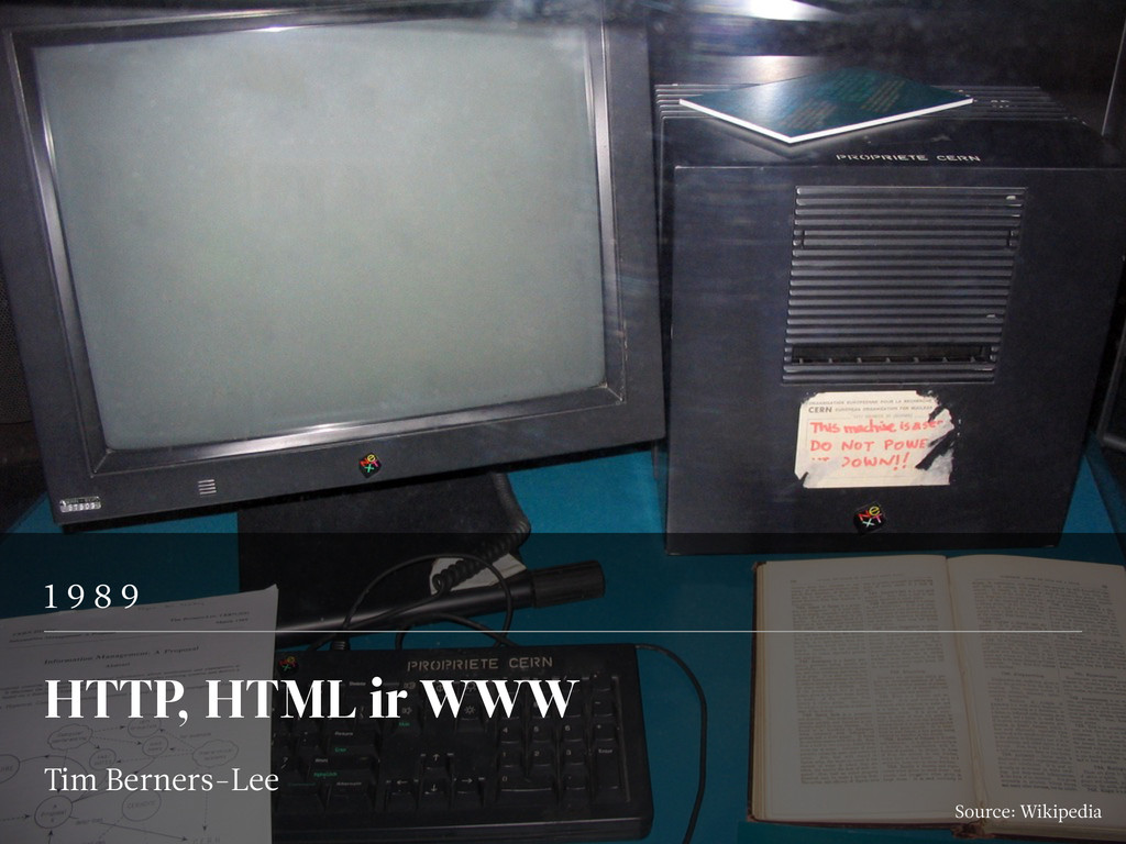 1 9 8 9 HTTP, HTML ir WWW Tim Berners-Lee Sourc...