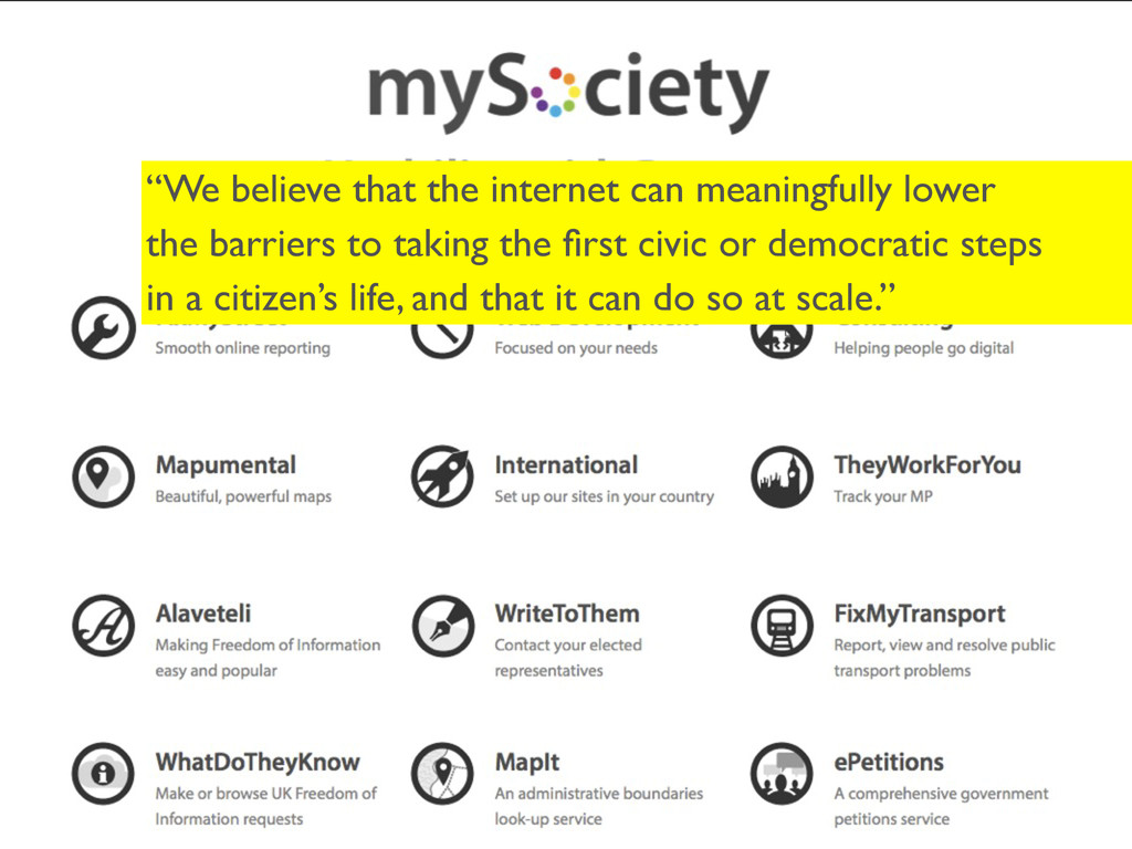 """""""We believe that the internet can meaningfully ..."""