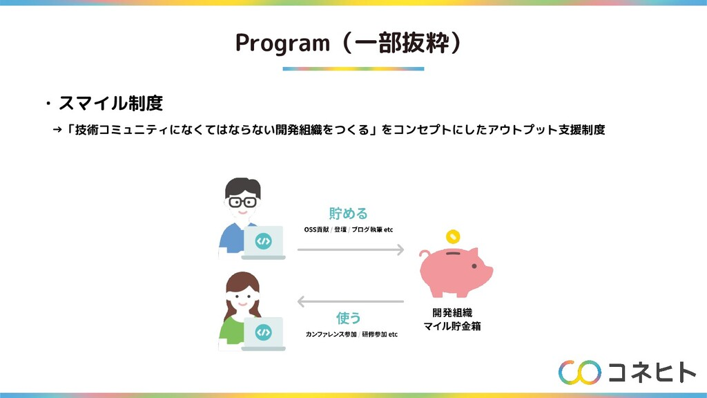 Program(一部抜粋) ・スマイル制度  →「技術コミュニティになくてはならない開発組織を...