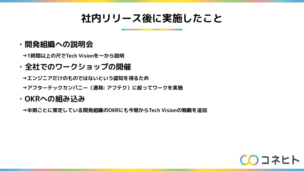社内リリース後に実施したこと ・開発組織への説明会  →1時間以上の尺でTech Vision...