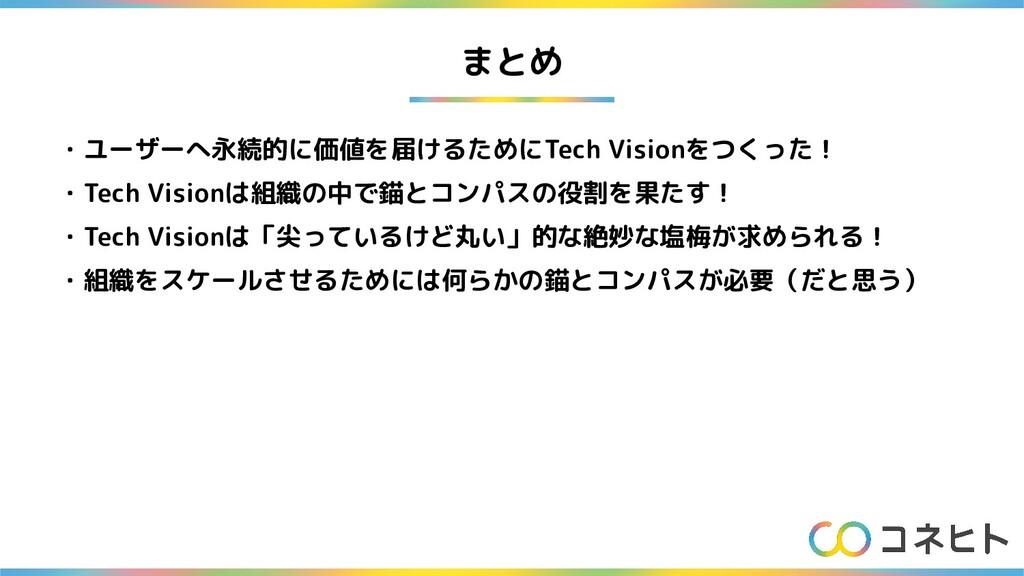 まとめ ・ユーザーへ永続的に価値を届けるためにTech Visionをつくった! ・Tech ...