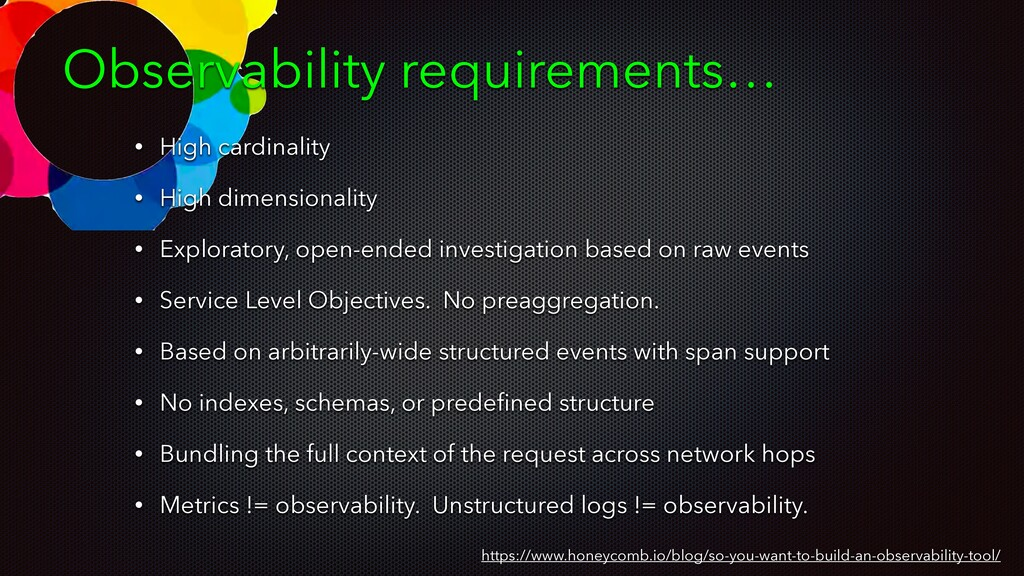 Observability requirements… https://www.honeyco...