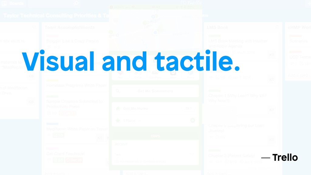 Visual and tactile. — Trello