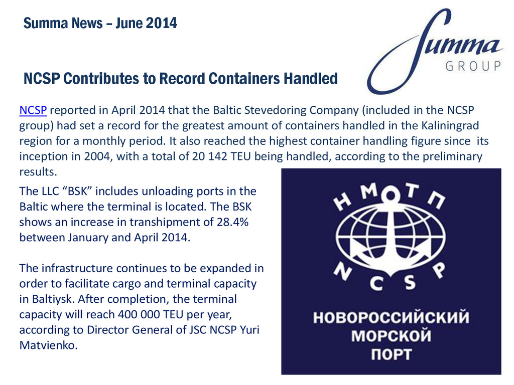 NCSP Contributes to Record Containers Handled S...