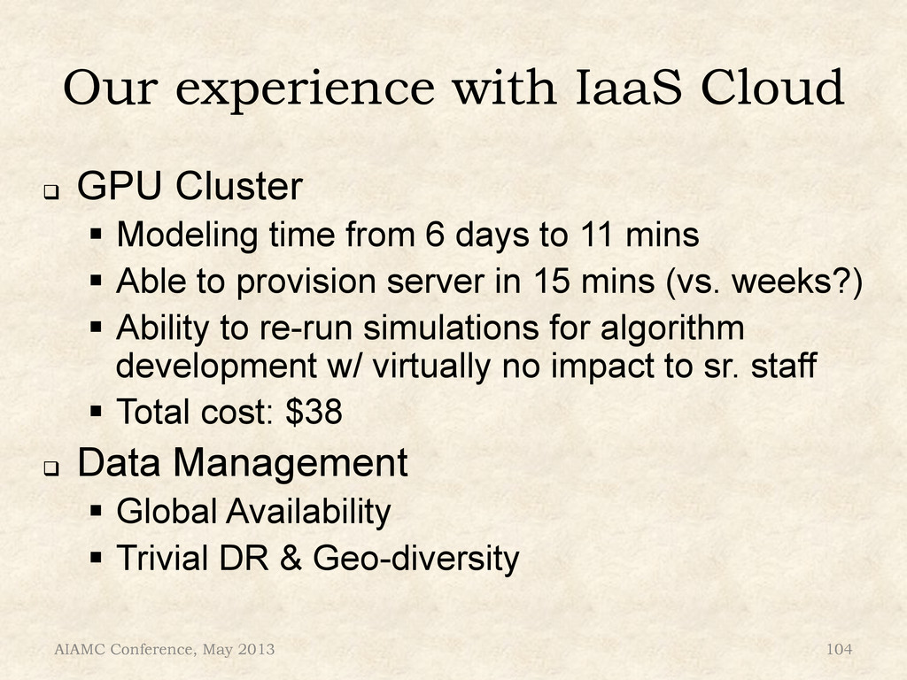 """Our experience with IaaS Cloud ! GPU Cluster """"..."""