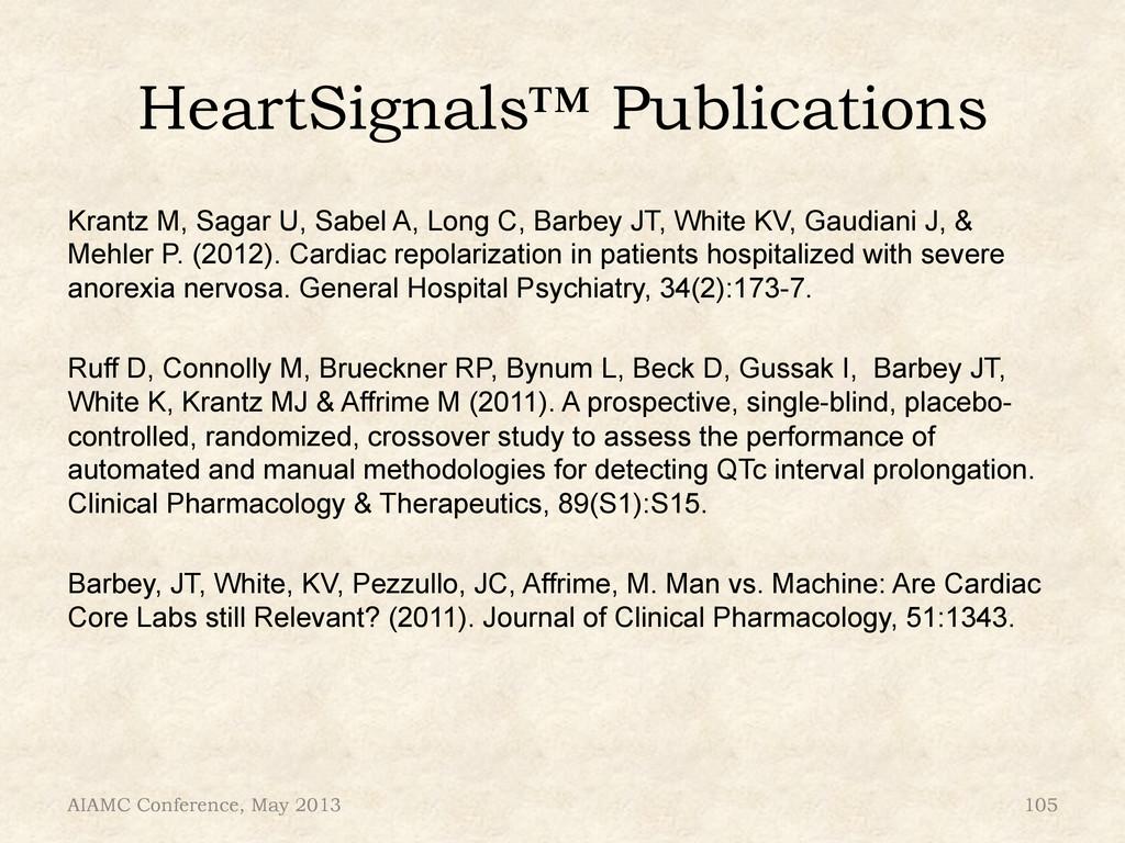 HeartSignals™ Publications Krantz M, Sagar U, S...