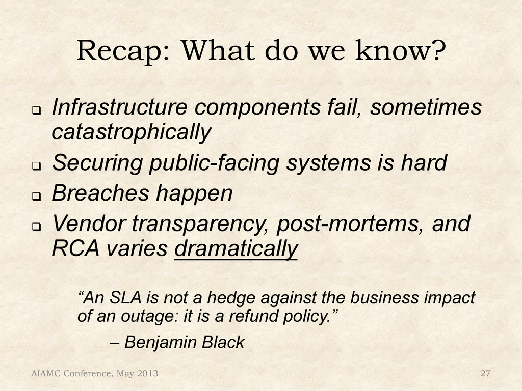 Recap: What do we know? ! Infrastructure compo...