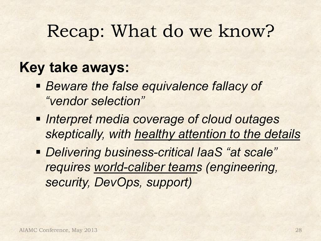 """Recap: What do we know? Key take aways: """" Bewa..."""