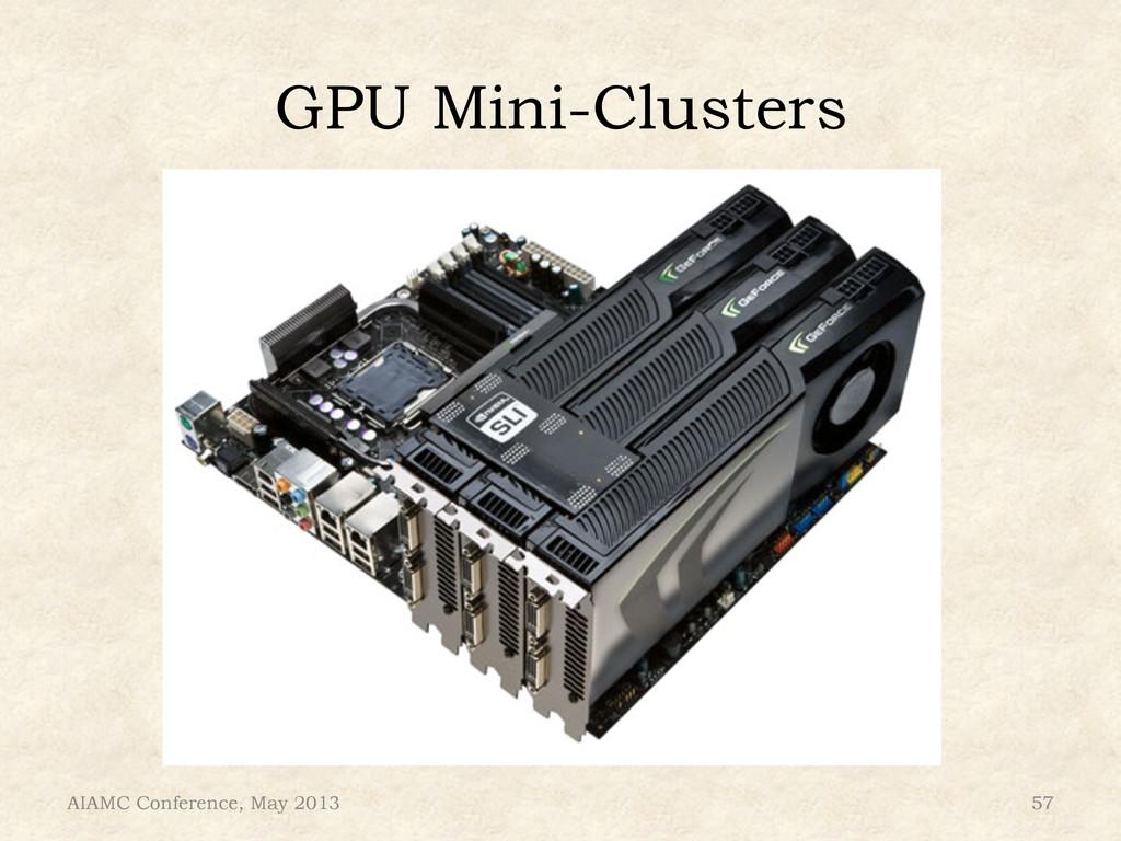 GPU Mini-Clusters AIAMC Conference, May 2013 57