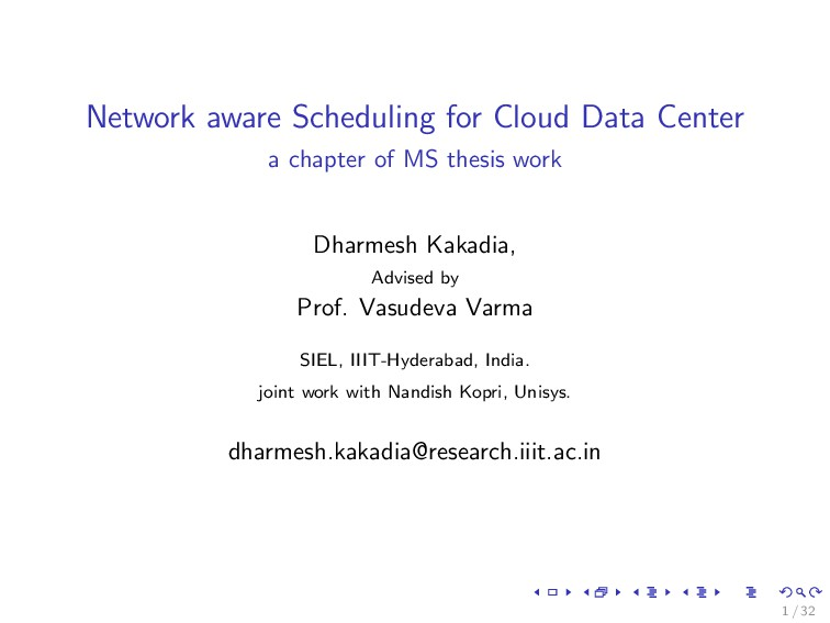 Network aware Scheduling for Cloud Data Center ...