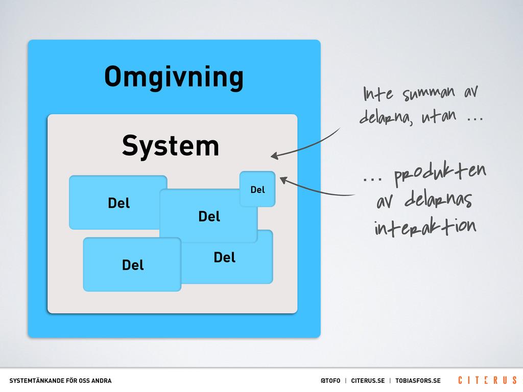 Omgivning System Del Del Del Del Del SYSTEMTÄNK...