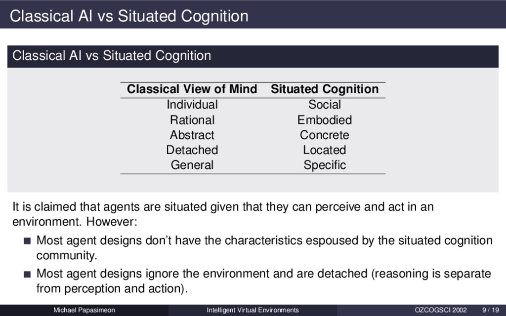 Classical AI vs Situated Cognition Classical AI...