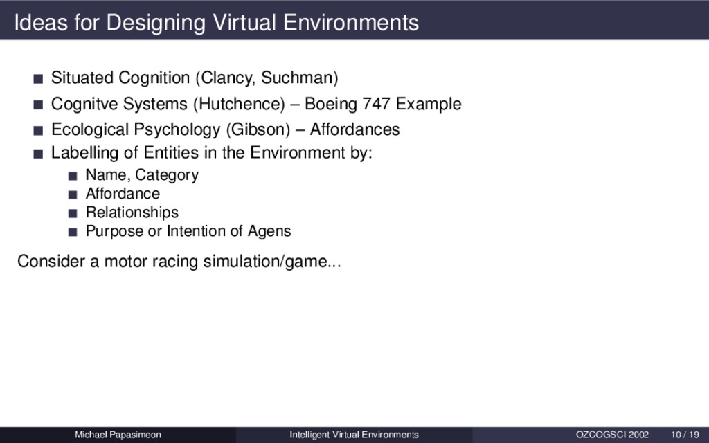 Ideas for Designing Virtual Environments Situat...