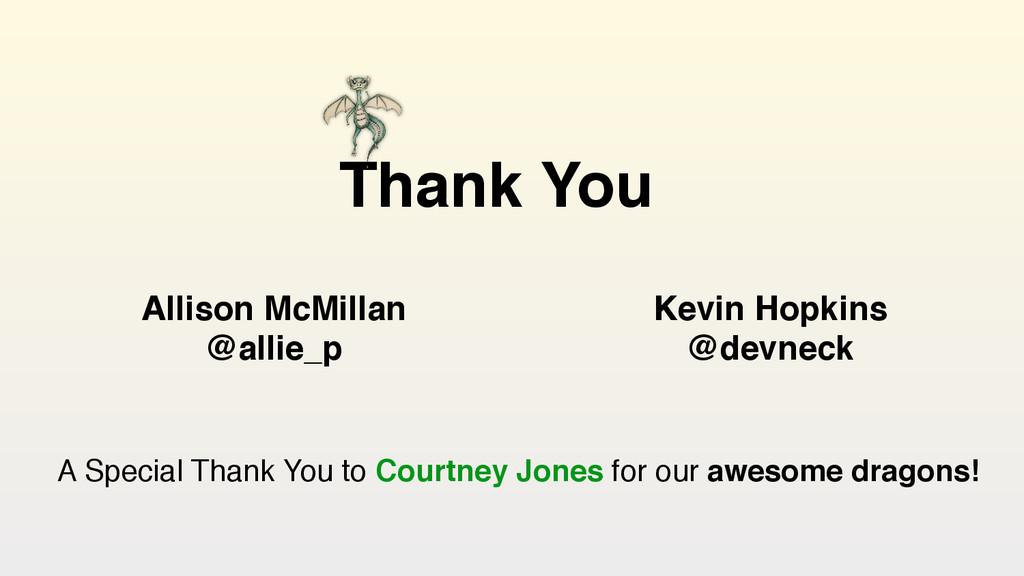 Thank You Allison McMillan @allie_p Kevin Hopki...