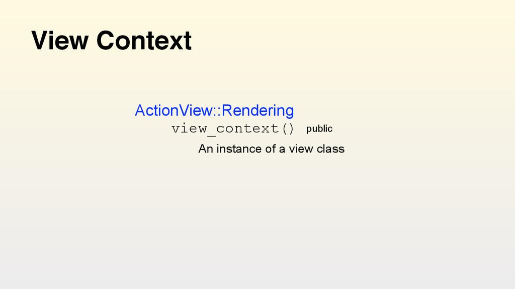View Context view_context() public An instance ...