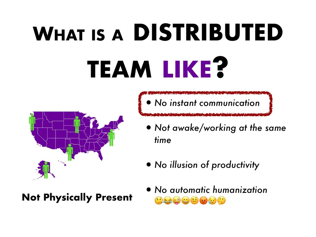 WHAT IS A DISTRIBUTED TEAM LIKE? •No instant co...