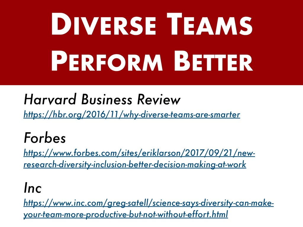 DIVERSE TEAMS PERFORM BETTER Harvard Business R...