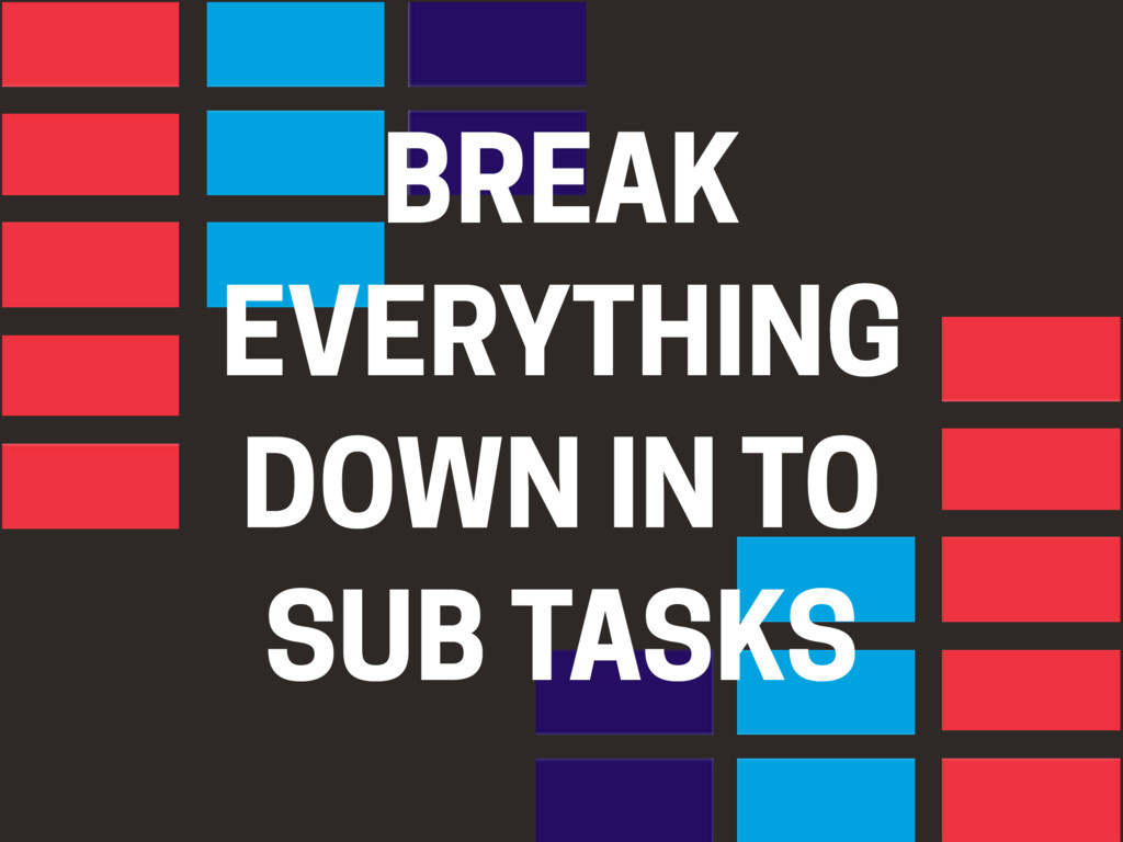 BREAK EVERYTHING DOWN IN TO SUB TASKS